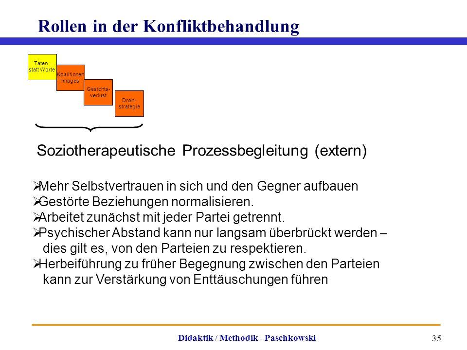 Didaktik / Methodik - Paschkowski 35 Rollen in der Konfliktbehandlung Soziotherapeutische Prozessbegleitung (extern)  Mehr Selbstvertrauen in sich un