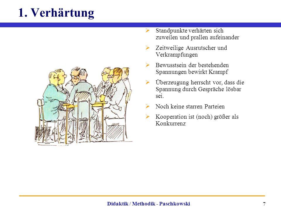 Didaktik / Methodik - Paschkowski 7 1. Verhärtung  Standpunkte verhärten sich zuweilen und prallen aufeinander  Zeitweilige Ausrutscher und Verkramp