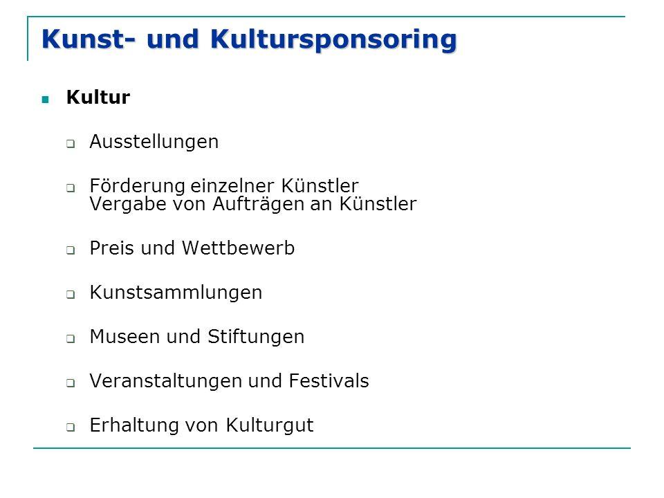 Kunst- und Kultursponsoring Kultur  Ausstellungen  Förderung einzelner Künstler Vergabe von Aufträgen an Künstler  Preis und Wettbewerb  Kunstsamm