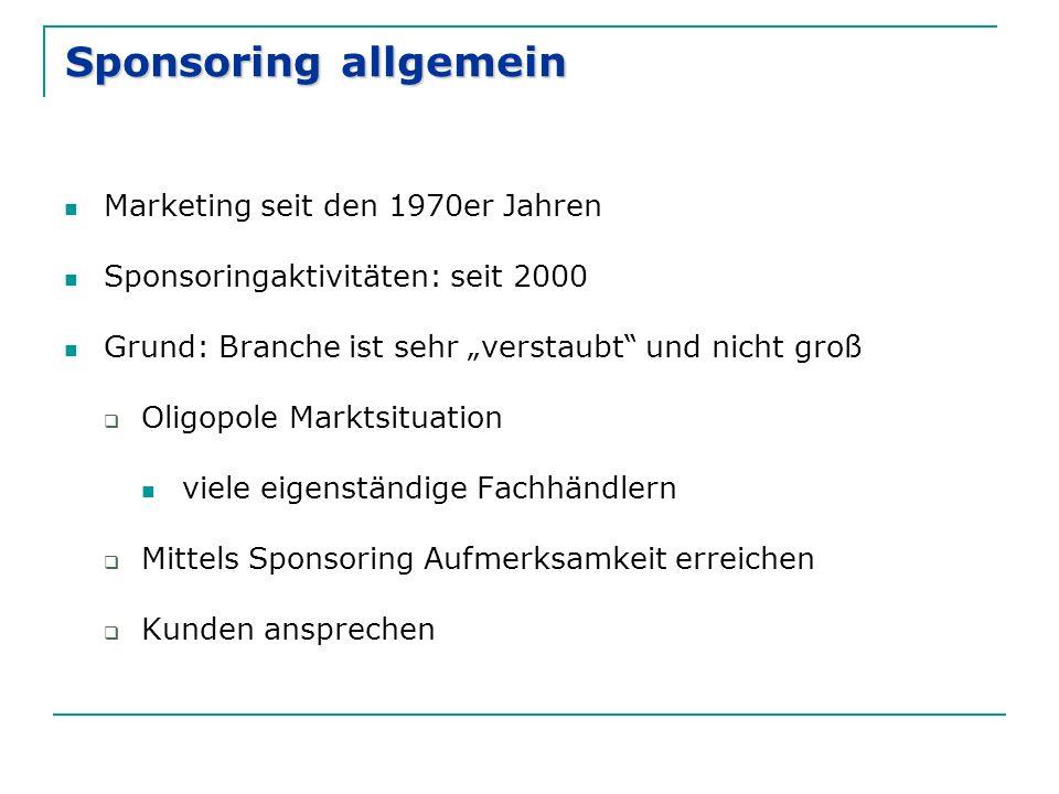 """Sponsoring allgemein Marketing seit den 1970er Jahren Sponsoringaktivitäten: seit 2000 Grund: Branche ist sehr """"verstaubt"""" und nicht groß  Oligopole"""