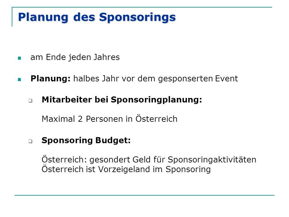 Planung des Sponsorings am Ende jeden Jahres Planung: halbes Jahr vor dem gesponserten Event  Mitarbeiter bei Sponsoringplanung: Maximal 2 Personen i