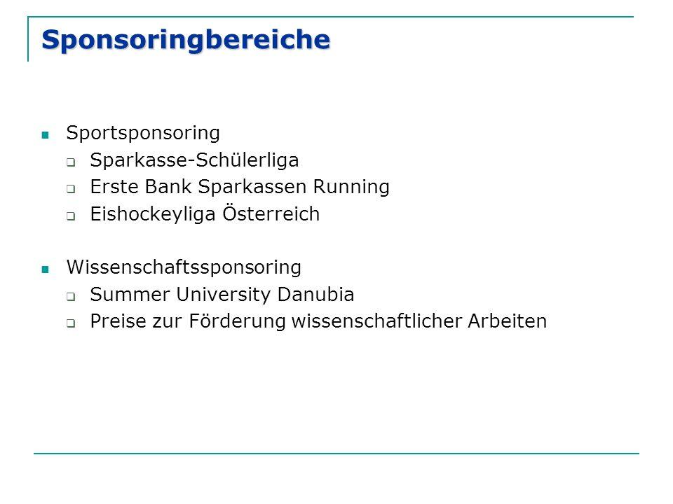 Sponsoringbereiche Sportsponsoring  Sparkasse-Schülerliga  Erste Bank Sparkassen Running  Eishockeyliga Österreich Wissenschaftssponsoring  Summer
