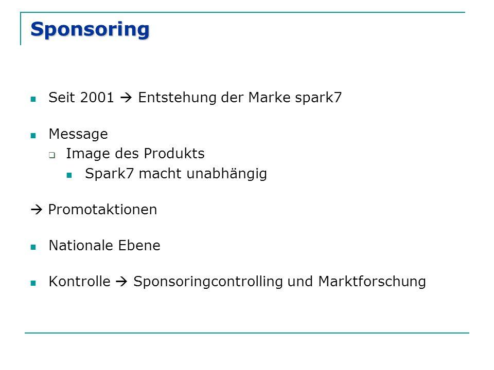 Sponsoring Seit 2001  Entstehung der Marke spark7 Message  Image des Produkts Spark7 macht unabhängig  Promotaktionen Nationale Ebene Kontrolle  S
