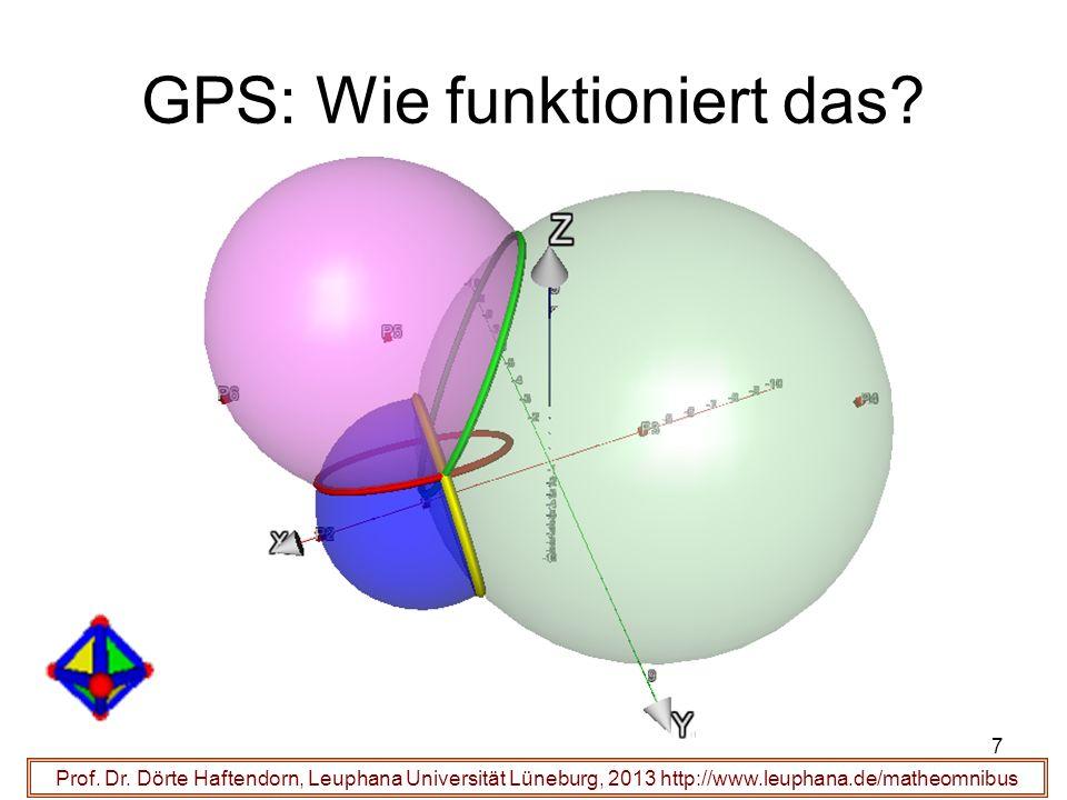 GPS: Wie funktioniert das? 7 Prof. Dr. Dörte Haftendorn, Leuphana Universität Lüneburg, 2013 http://www.leuphana.de/matheomnibus