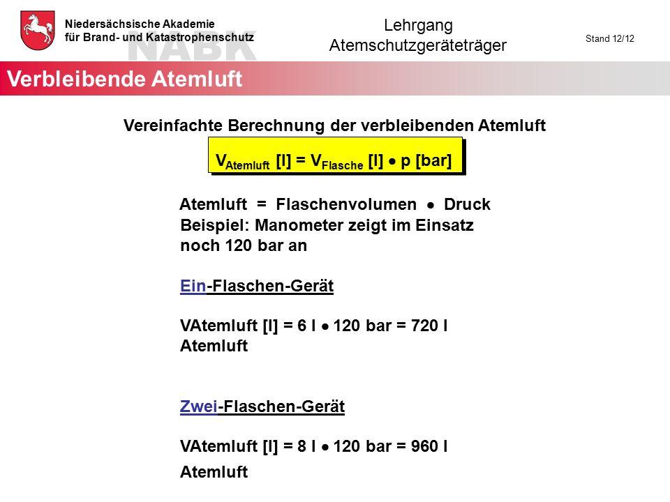 NABK Niedersächsische Akademie für Brand- und Katastrophenschutz Lehrgang Atemschutzgeräteträger Stand 12/12 Vereinfachte Berechnung der verbleibenden