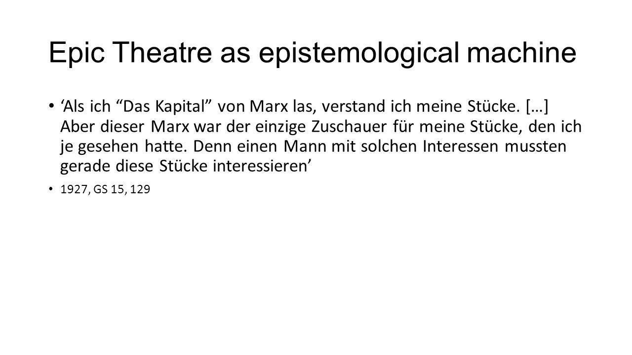 """Epic Theatre as epistemological machine 'Als ich """"Das Kapital"""" von Marx las, verstand ich meine Stücke. […] Aber dieser Marx war der einzige Zuschauer"""