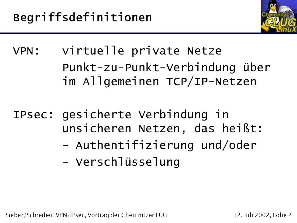 12. Juli 2002, Folie 2Sieber/Schreiber: VPN/IPsec, Vortrag der Chemnitzer LUG Begriffsdefinitionen VPN:virtuelle private Netze Punkt-zu-Punkt-Verbindu