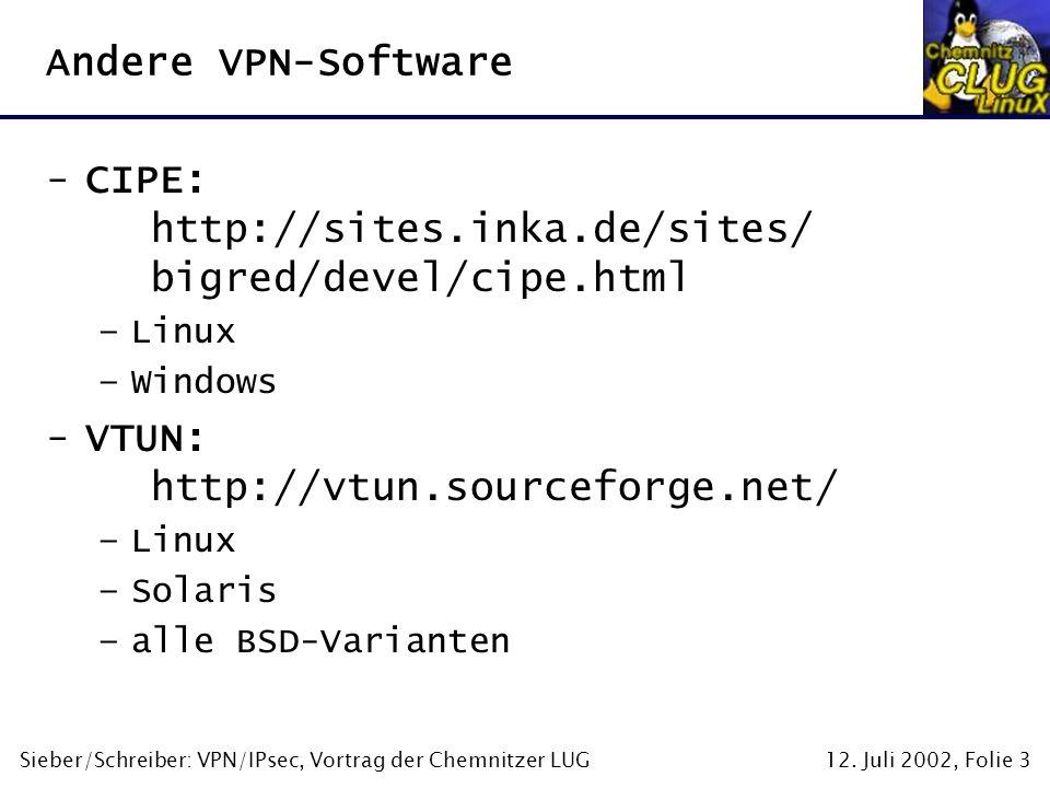 12. Juli 2002, Folie 3Sieber/Schreiber: VPN/IPsec, Vortrag der Chemnitzer LUG Andere VPN-Software -CIPE: http://sites.inka.de/sites/ bigred/devel/cipe