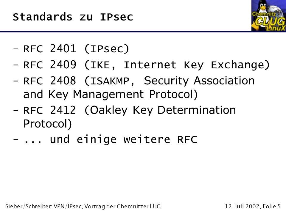 12. Juli 2002, Folie 5Sieber/Schreiber: VPN/IPsec, Vortrag der Chemnitzer LUG Standards zu IPsec -RFC 2401 (IPsec) -RFC 2409 (IKE, Internet Key Exchan