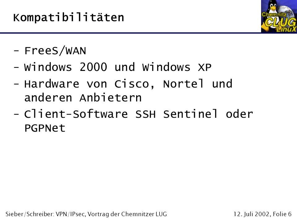 12. Juli 2002, Folie 6Sieber/Schreiber: VPN/IPsec, Vortrag der Chemnitzer LUG Kompatibilitäten -FreeS/WAN -Windows 2000 und Windows XP -Hardware von C