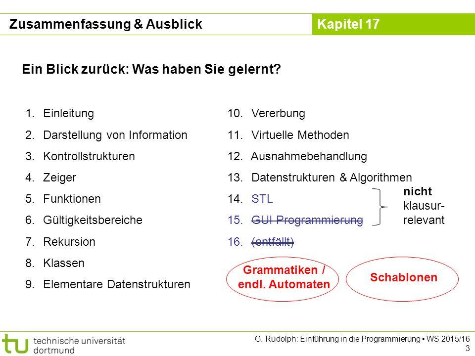 Kapitel 17 G.Rudolph: Einführung in die Programmierung ▪ WS 2015/16 4 Gegenwart: Was wurde bzgl.
