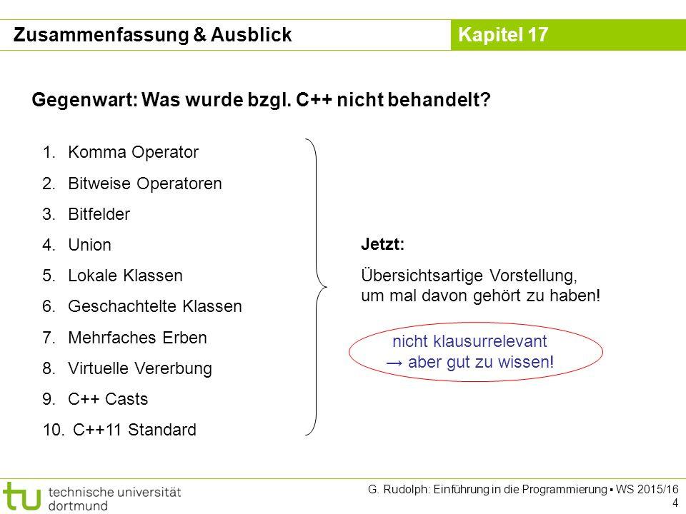 Kapitel 17 G. Rudolph: Einführung in die Programmierung ▪ WS 2015/16 4 Gegenwart: Was wurde bzgl.