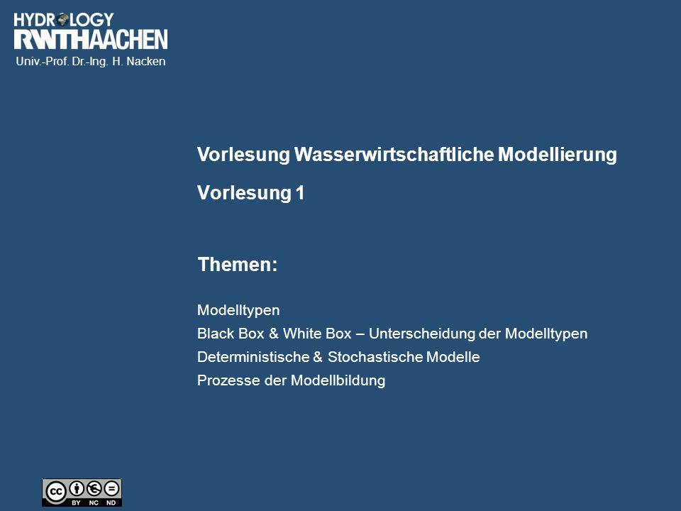 Univ.-Prof. Dr.-Ing. H. Nacken Vorlesung Wasserwirtschaftliche Modellierung Themen: Vorlesung 1 Modelltypen Black Box & White Box – Unterscheidung der