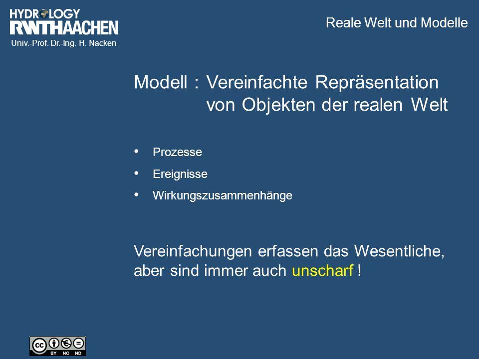 Univ.-Prof. Dr.-Ing. H. Nacken Modell :Vereinfachte Repräsentation von Objekten der realen Welt Vereinfachungen erfassen das Wesentliche, aber sind im