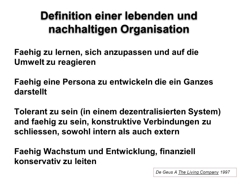 Definition einer lebenden und nachhaltigen Organisation Faehig zu lernen, sich anzupassen und auf die Umwelt zu reagieren Faehig eine Persona zu entwi