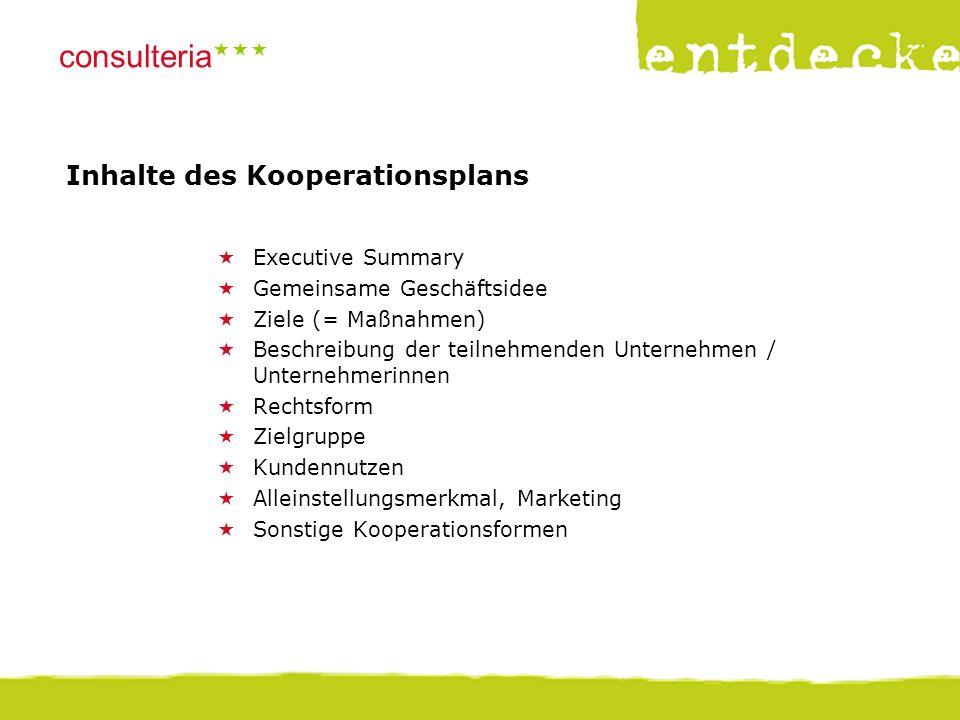 © consulteria – entdecke dein unternehmen consulteria  Inhalte des Kooperationsplans  Executive Summary  Gemeinsame Geschäftsidee  Ziele (= Maßn