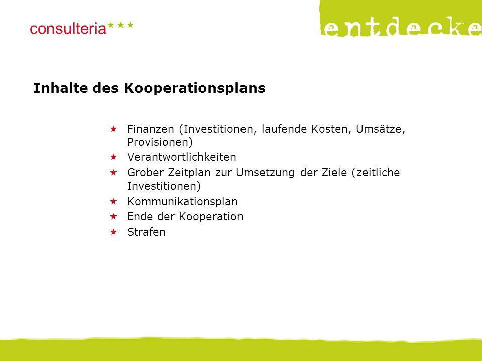 © consulteria – entdecke dein unternehmen consulteria  Inhalte des Kooperationsplans  Finanzen (Investitionen, laufende Kosten, Umsätze, Provision