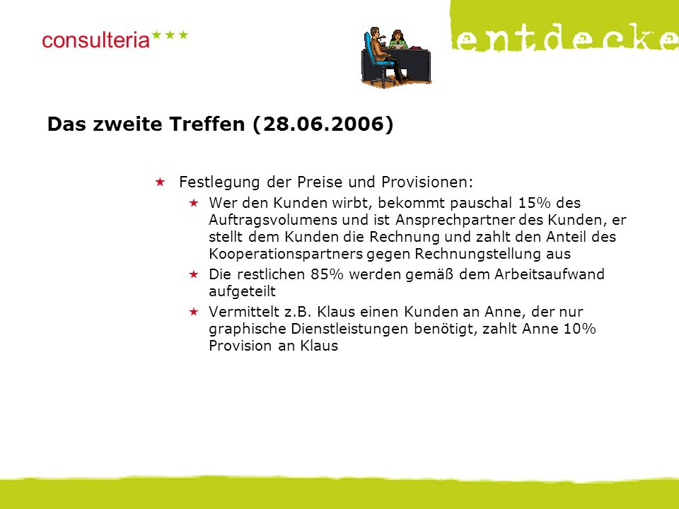 © consulteria – entdecke dein unternehmen consulteria  Das zweite Treffen (28.06.2006)  Festlegung der Preise und Provisionen:  Wer den Kunden wi