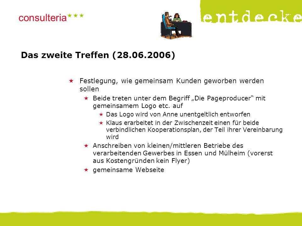 """© consulteria – entdecke dein unternehmen consulteria  Das zweite Treffen (28.06.2006)  Festlegung, wie gemeinsam Kunden geworben werden sollen  Beide treten unter dem Begriff """"Die Pageproducer mit gemeinsamem Logo etc."""