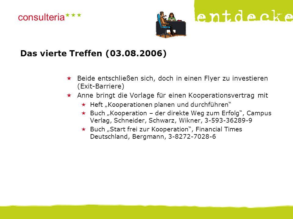© consulteria – entdecke dein unternehmen consulteria  Das vierte Treffen (03.08.2006)  Beide entschließen sich, doch in einen Flyer zu investiere