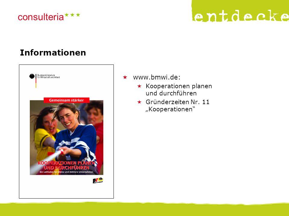"""© consulteria – entdecke dein unternehmen consulteria  Informationen  www.bmwi.de:  Kooperationen planen und durchführen  Gründerzeiten Nr. 11 """""""