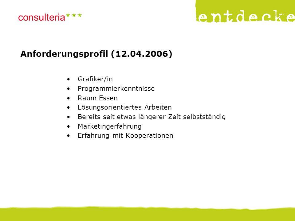 © consulteria – entdecke dein unternehmen consulteria  Anforderungsprofil (12.04.2006) Grafiker/in Programmierkenntnisse Raum Essen Lösungsorientie
