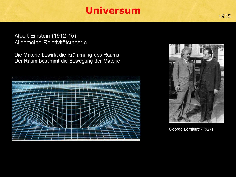Albert Einstein (1912-15) : Allgemeine Relativitätstheorie Die Materie bewirkt die Krümmung des Raums Der Raum bestimmt die Bewegung der Materie George Lemaitre (1927) 1915 Universum
