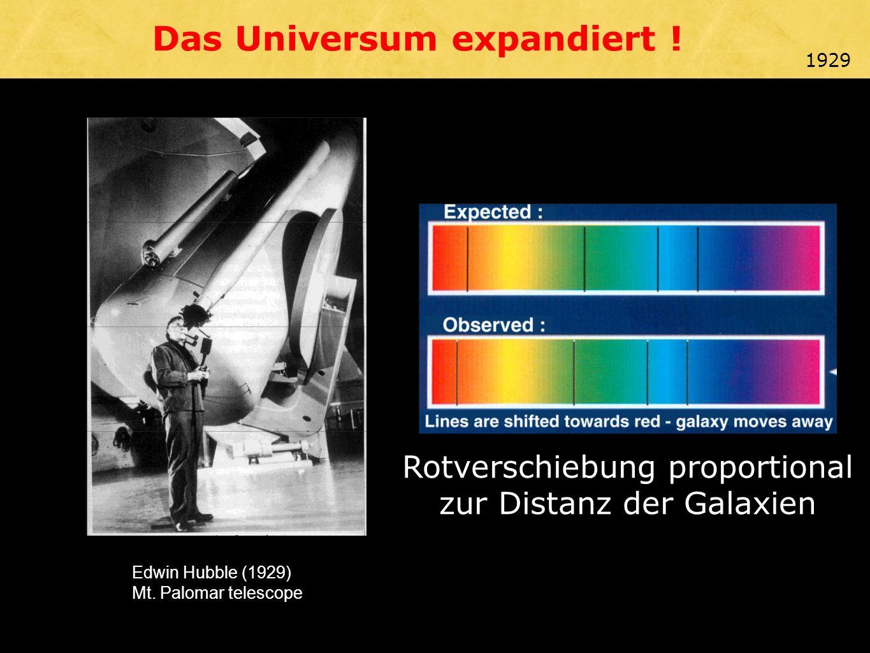 Edwin Hubble (1929) Mt. Palomar telescope Das Universum expandiert .