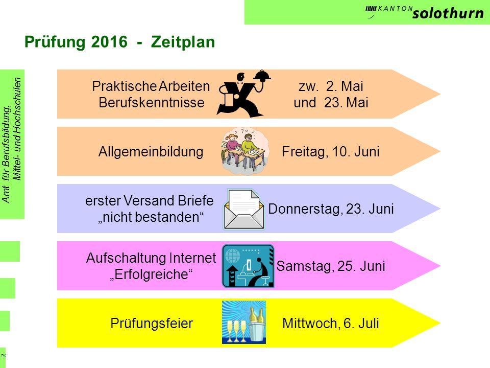 Prüfung 2016 - Zeitplan Amt für Berufsbildung, Mittel- und Hochschulen PK Praktische Arbeiten Berufskenntnisse Allgemeinbildung zw. 2. Mai und 23. Mai