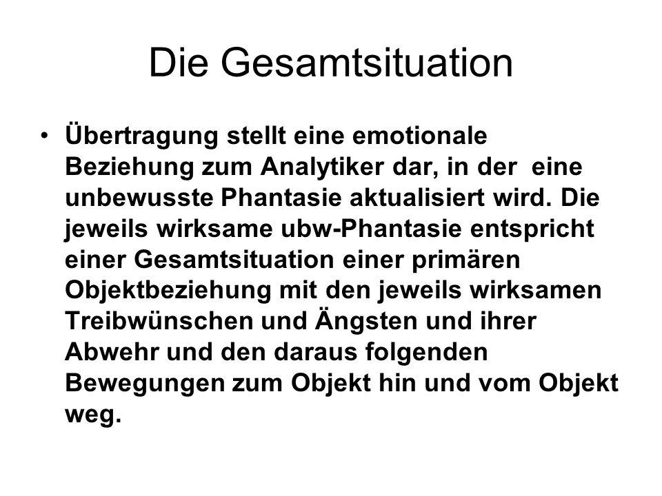 Die Gesamtsituation Übertragung stellt eine emotionale Beziehung zum Analytiker dar, in der eine unbewusste Phantasie aktualisiert wird.