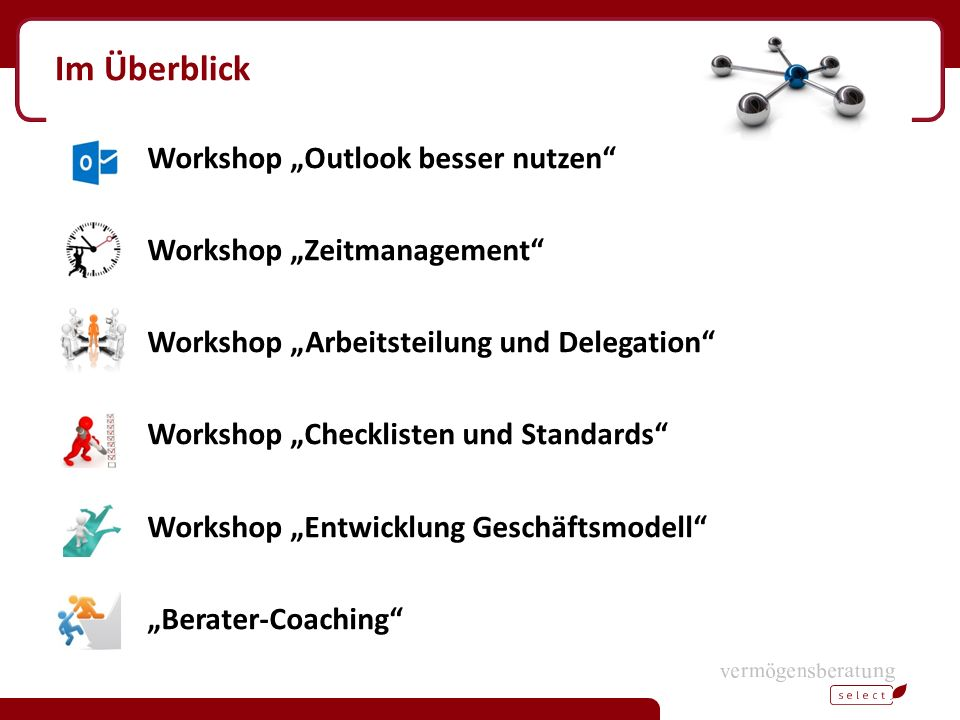 "Im Überblick Workshop ""Outlook besser nutzen"" Workshop ""Zeitmanagement"" Workshop ""Arbeitsteilung und Delegation"" Workshop ""Checklisten und Standards"""