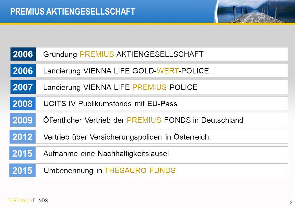 THRESAUO FUNDS 3 PREMIUS AKTIENGESELLSCHAFT Gründung PREMIUS AKTIENGESELLSCHAFT Lancierung VIENNA LIFE GOLD-WERT-POLICE Lancierung VIENNA LIFE PREMIUS POLICE UCITS IV Publikumsfonds mit EU-Pass 2006 2007 2008 Öffentlicher Vertrieb der PREMIUS FONDS in Deutschland Vertrieb über Versicherungspolicen in Österreich.