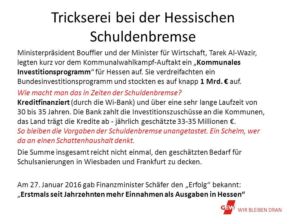 """Trickserei bei der Hessischen Schuldenbremse Ministerpräsident Bouffier und der Minister für Wirtschaft, Tarek Al-Wazir, legten kurz vor dem Kommunalwahlkampf-Auftakt ein """"Kommunales Investitionsprogramm für Hessen auf."""