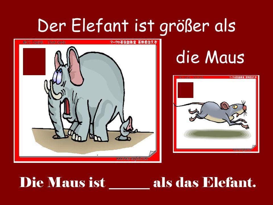 Der Elefant ist größer als die Maus Die Maus ist ______ als das Elefant.
