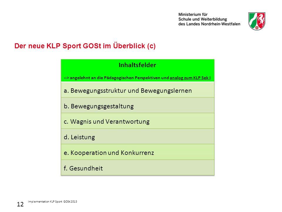 12 Der neue KLP Sport GOSt im Überblick (c) Implementation KLP Sport GOSt 2013