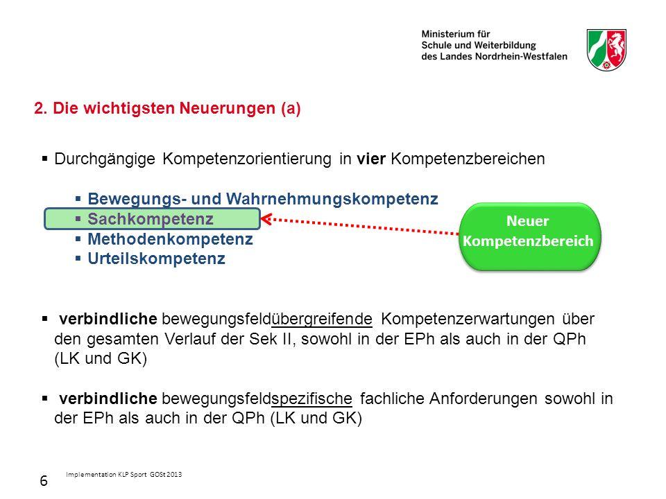 6 2. Die wichtigsten Neuerungen (a)  Durchgängige Kompetenzorientierung in vier Kompetenzbereichen  Bewegungs- und Wahrnehmungskompetenz  Sachkompe