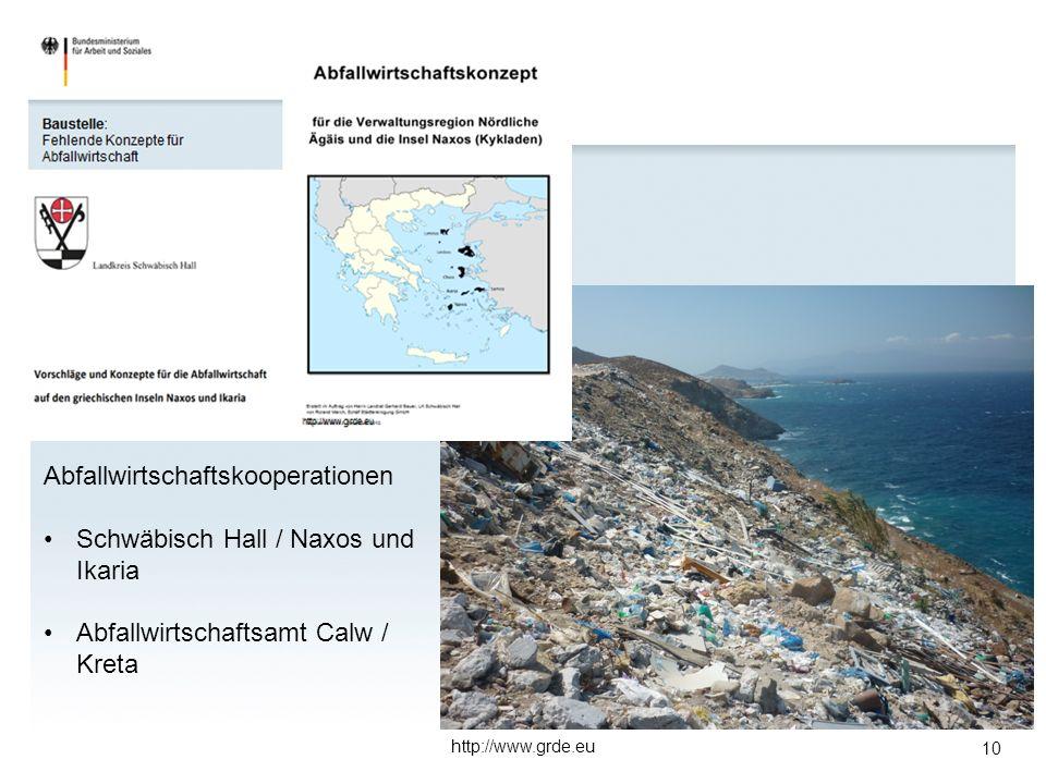 10 http://www.grde.eu Abfallwirtschaftskooperationen Schwäbisch Hall / Naxos und Ikaria Abfallwirtschaftsamt Calw / Kreta