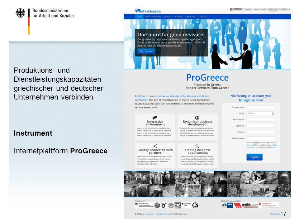 17 Produktions- und Dienstleistungskapazitäten griechischer und deutscher Unternehmen verbinden Instrument Internetplattform ProGreece