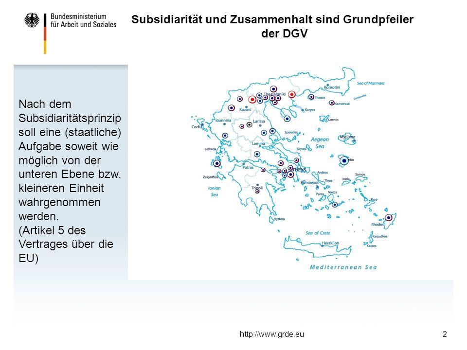 http://www.grde.eu2 Subsidiarität und Zusammenhalt sind Grundpfeiler der DGV Nach dem Subsidiaritätsprinzip soll eine (staatliche) Aufgabe soweit wie möglich von der unteren Ebene bzw.