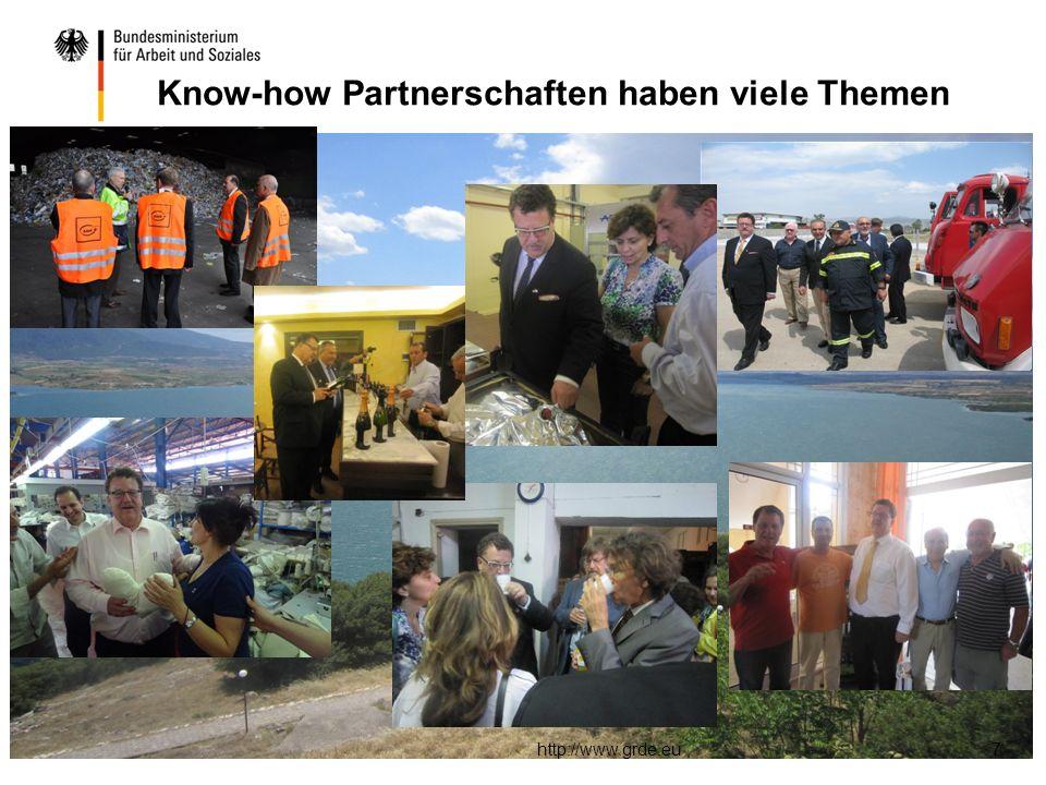 http://www.grde.eu7 Know-how Partnerschaften haben viele Themen