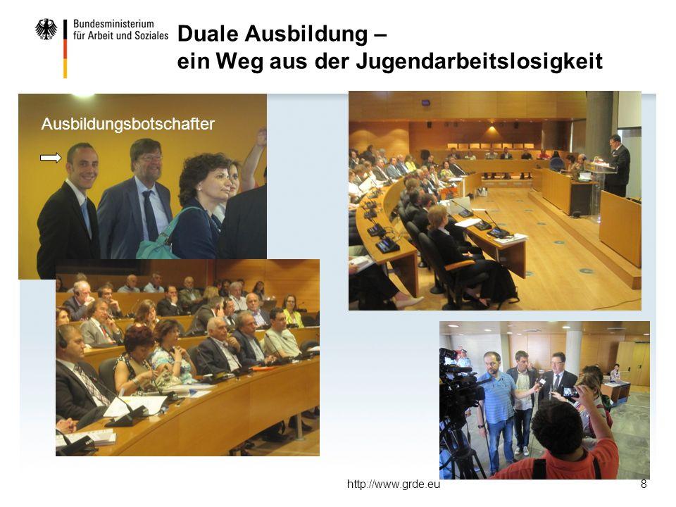 Duale Ausbildung – ein Weg aus der Jugendarbeitslosigkeit http://www.grde.eu8 Ausbildungsbotschafter