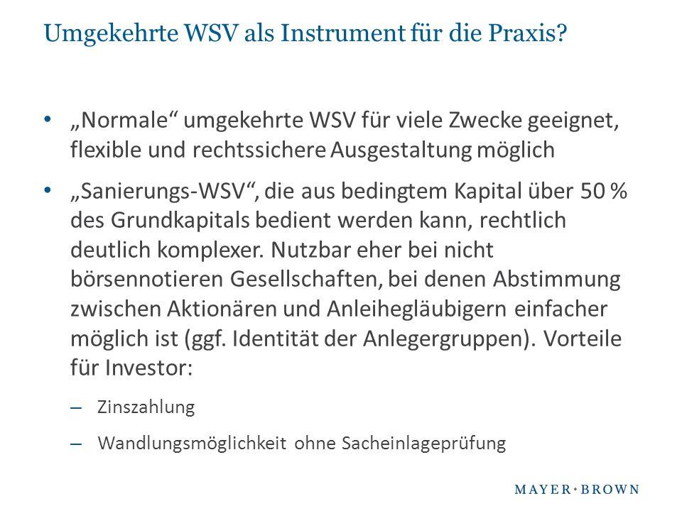 Umgekehrte WSV als Instrument für die Praxis.