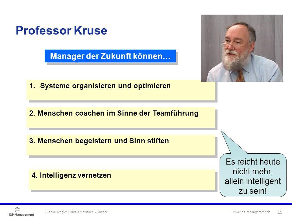 15 Gisela Dengler | Martin Meissner & Partner www.qs-management.de Manager der Zukunft können… 1.Systeme organisieren und optimieren 2.