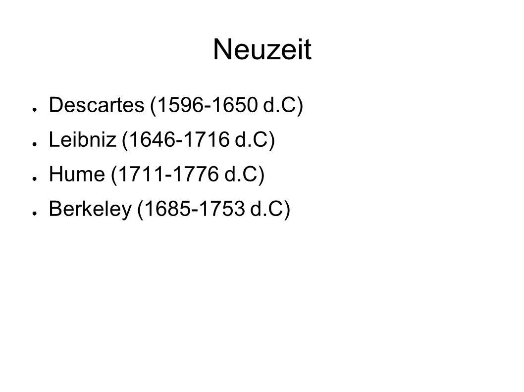 Neuzeit ● Descartes (1596-1650 d.C) ● Leibniz (1646-1716 d.C) ● Hume (1711-1776 d.C) ● Berkeley (1685-1753 d.C)