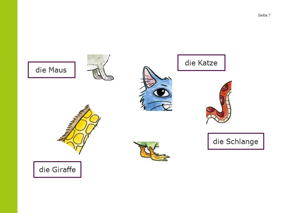 Seite 7 die Maus die Giraffe die Katze die Schlange