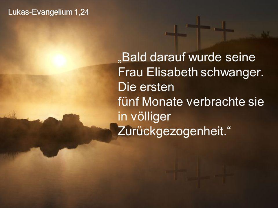 """Lukas-Evangelium 1,24 """"Bald darauf wurde seine Frau Elisabeth schwanger. Die ersten fünf Monate verbrachte sie in völliger Zurückgezogenheit."""""""