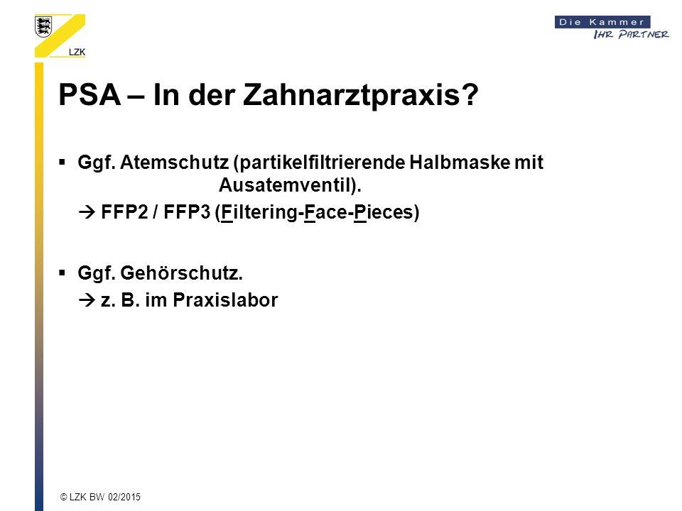 PSA – In der Zahnarztpraxis.  Ggf. Atemschutz (partikelfiltrierende Halbmaske mit Ausatemventil).