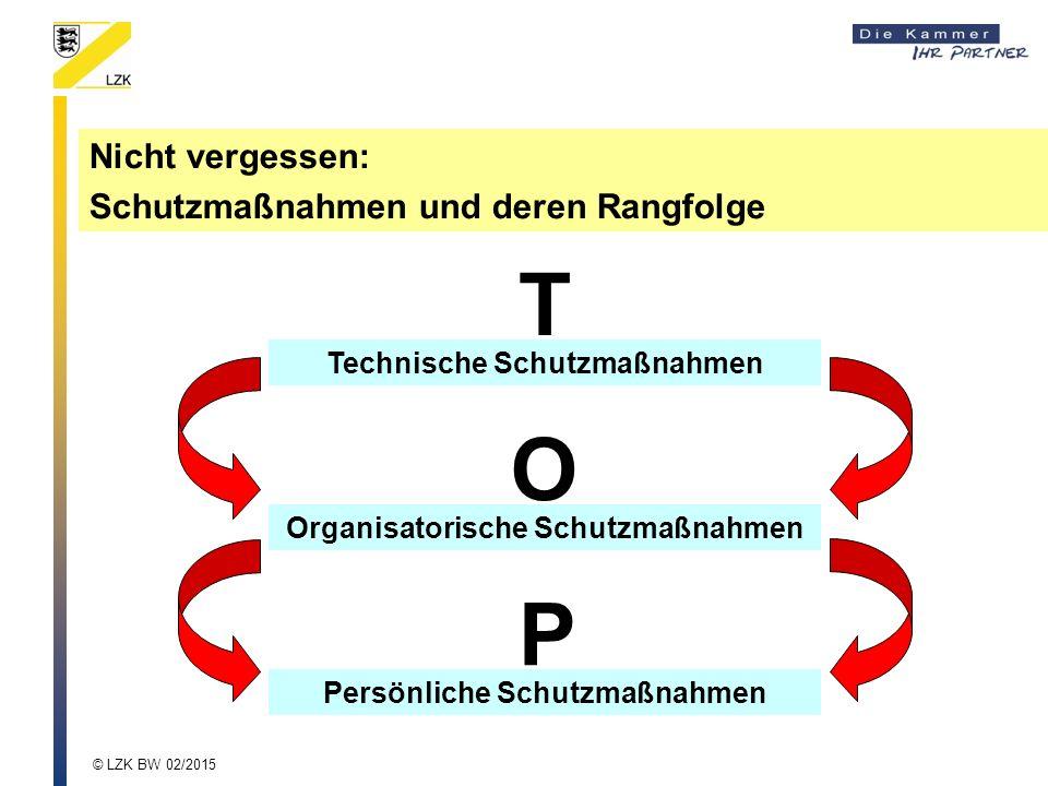 Nicht vergessen: Schutzmaßnahmen und deren Rangfolge Technische Schutzmaßnahmen Organisatorische Schutzmaßnahmen Persönliche Schutzmaßnahmen T O P © LZK BW 02/2015