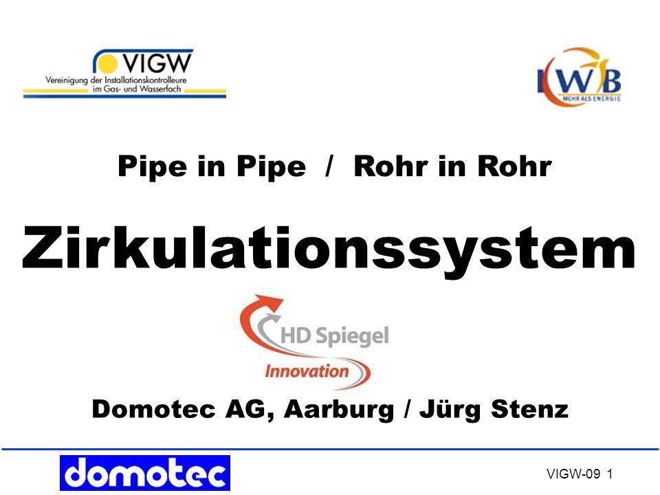 VIGW-09 32 RiR – System HD Spiegel Mit dem Einsatz von RiR- Zirkulationen, System HD- Spiegel Innovation erfüllen wir alle Hygienebelange in Trink- Wassersystemen.