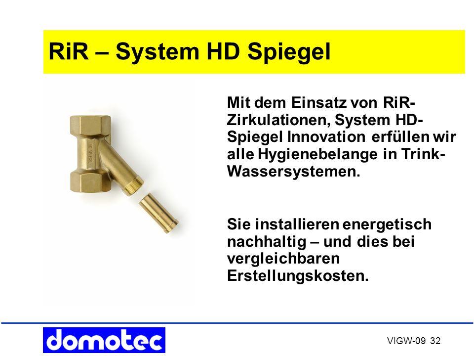 VIGW-09 32 RiR – System HD Spiegel Mit dem Einsatz von RiR- Zirkulationen, System HD- Spiegel Innovation erfüllen wir alle Hygienebelange in Trink- Wa